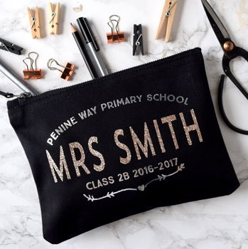 Personalised Rose Gold Teacher's Pencil Case
