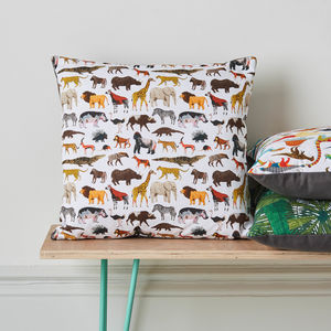 Safari Animals Cushion - children's room