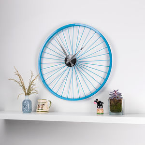 Blue Bike Wheel Clock With Brake Disc - clocks