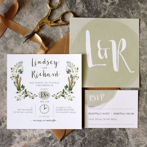 Botanic Herb Wedding Invitation - invitations