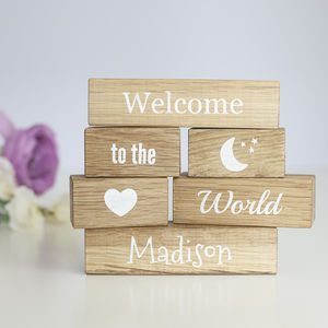Personalised 'Welcome To The World' Oak Building Blocks