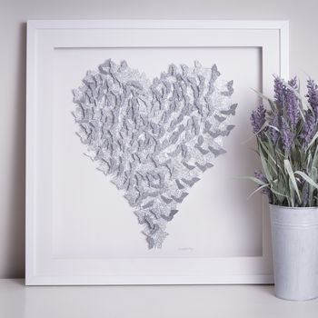 Framed 3D Silver Sparkle Butterfly Heart