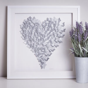 Framed 3D Silver Sparkle Butterfly Heart - modern & abstract