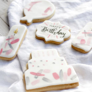 Personalised Birthday Pink Sugar Biscuits Set - what's new
