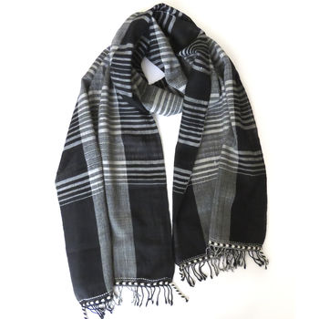 Black And White Check Artisan Fine Wool Scarf