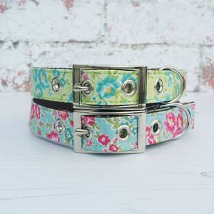 Dog Collar Traditional Buckle Summer Garden Flowers - dog collars