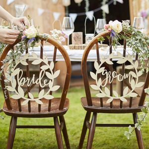 Wooden Bride And Groom Chair Wedding Day Signs - table decorations
