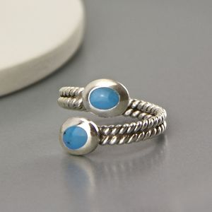 Twisted Sterling Silver Open Turquoise Ring - rings