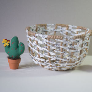 White Rabbit Handmade Wire Metal Woven Basket Bowl - kitchen