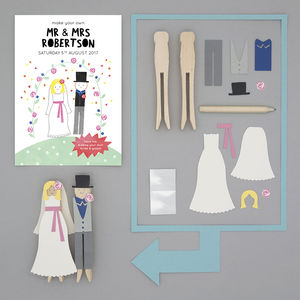 Personalised Make Your Own Bride And Groom Peg Doll Kit - for children