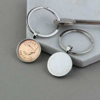 1949 70th Birthday Polished Farthing Keyring