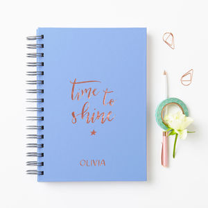 Personalised Rose Gold Time To Shine Notebook - stationery sale