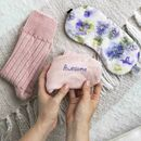 Pink Embroidered Alpaca Socks And Sleep Mask Set