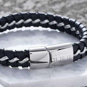 Personalised Black Leather Detailed Gents Bracelet