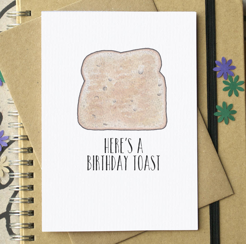 Birthday Toast Funny Card By Becka Griffin Illustration