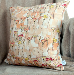 Watercolour Primrose Natural Linen Cushion