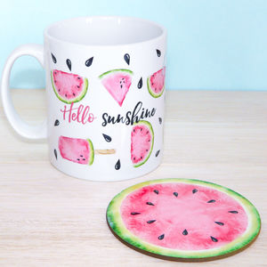 Hello Sunshine Watermelon Mug And Coaster - placemats & coasters