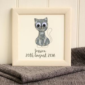 Personalised Cat Embroidered Plaque - mixed media & collage