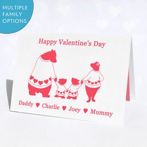 Personalised Bear Family Valentine's Day Card