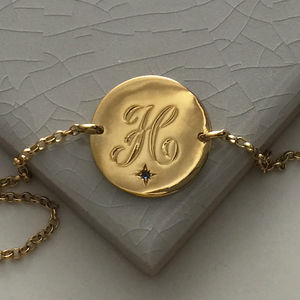 Birthstone Initial Bracelet In Yellow Or Rose Gold - necklaces & pendants