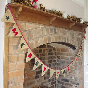 Hessian And Tartan Christmas Bunting Banner Decoration