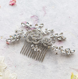 Iris Crystal Flower And Leaf Hair Comb - head pieces