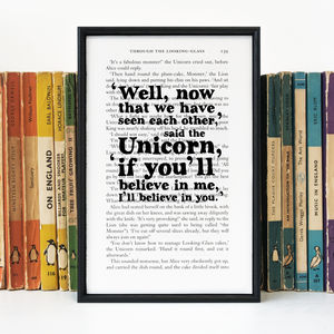 Alice In Wonderland Unicorn 'Believe' Book Page Print - unicorns