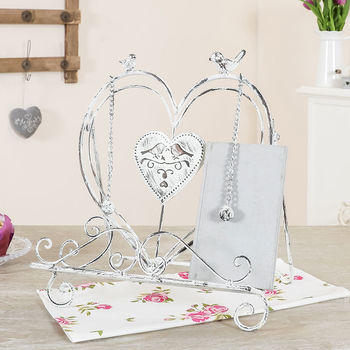 Distressed White Love Birds Cook Book Stand