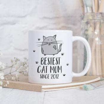 Personalised Bestest Cat Mum Funny Mug