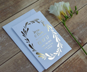Flower Crown Foiled Wedding Save The Date - rustic autumn wedding styling