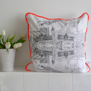 Hand Drawn Glasgow Piped Cushion