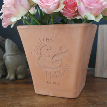 Mr & Mrs Celebration Marriage Engraved Plant pot