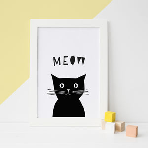 Peekaboo Cat, Animal Sounds Nursery Prints