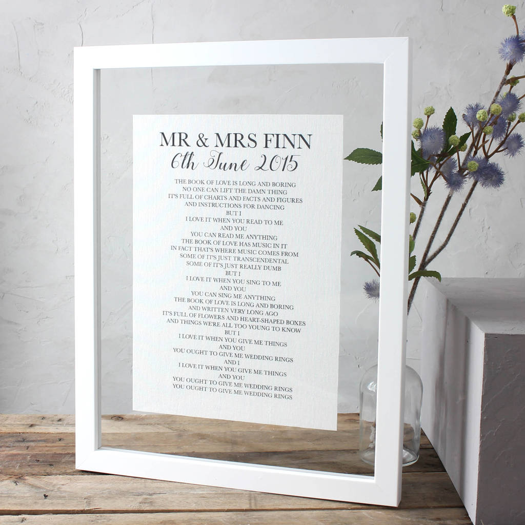 cotton anniversary lyrics/vows print by no ordinary gift company ...