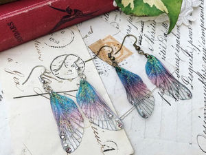 Sweet Pair Of Small Purlpe Rainbow Faerie Wing Earrings