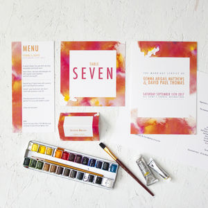 Watercolour Burst On The Day Wedding Stationery - order of service & programs