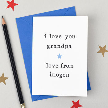 Personalised 'Love You' Grandfather Birthday Card