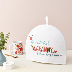 Personalised Floral Wording Tea Cosy