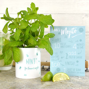 Grow Your Own Mojito Kit With Personalised Pot And Card - gifts for friends