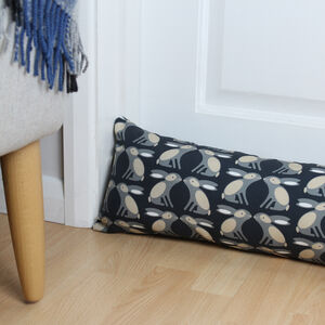Black Rabbit Print Draught Excluder