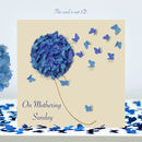Butterfly Mothering Sunday Card, Blue Hydrangea Card