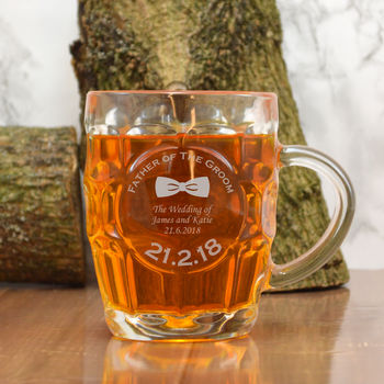 Engraved Glass Tankard Father Of The Groom