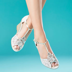Valencia Floral Ivory Bridal Wedges - bridal shoes