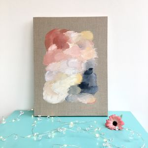 Pastel Pink Abstract Natural Linen Canvas Painting - paintings