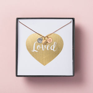 Personalised 'Loved' Mini Disc Necklace Gift Box