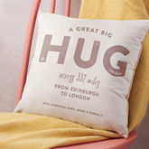Personalised 'Hug Across The Miles' Locations Cushion - mother's day