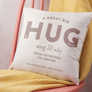 Personalised 'Hug Across The Miles' Locations Cushion - gifts for her