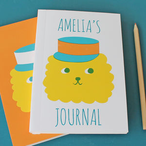Personalised Notebook 'Cute' Lion In Hat