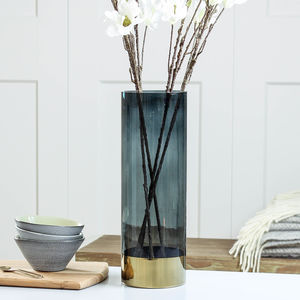 Smokey Grey Glass Vase - vases