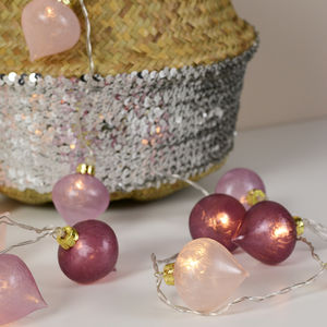 Mauve And Pink Lotus String Lights - christmas decorations